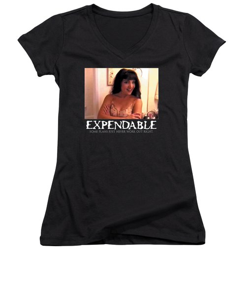 Expendable 12 - Black Women's V-Neck T-Shirt (Junior Cut) by Mark Baranowski