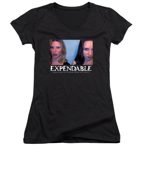 Expendable 15 - Black Women's V-Neck T-Shirt (Junior Cut) by Mark Baranowski