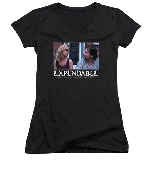 Expendable 2 - Black Women's V-Neck T-Shirt (Junior Cut) by Mark Baranowski