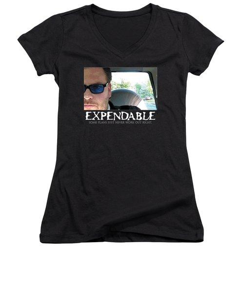 Expendable 3 - Black Women's V-Neck T-Shirt (Junior Cut) by Mark Baranowski