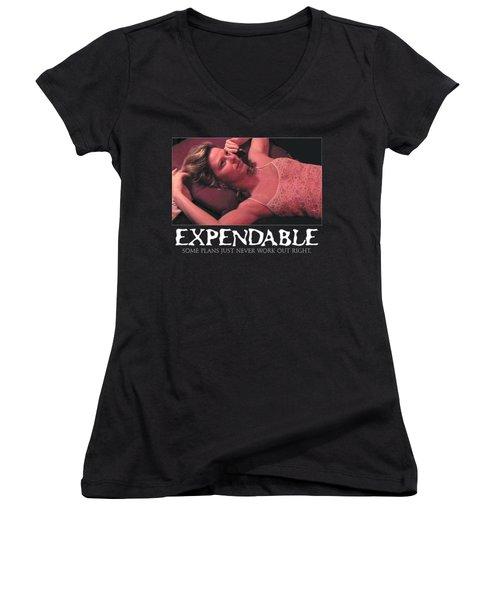 Expendable 4 - Black Women's V-Neck T-Shirt (Junior Cut) by Mark Baranowski