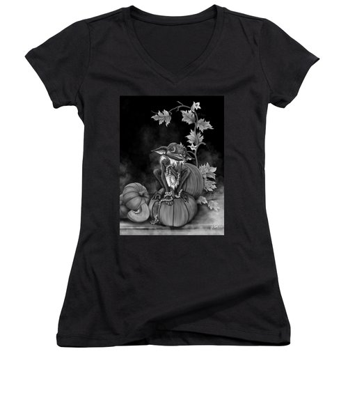 Women's V-Neck featuring the painting Explain Yourself - Black And White Fantasy Art by Raphael Lopez