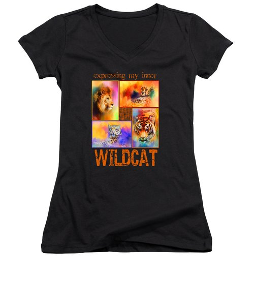 Expressing My Inner Wildcat Women's V-Neck T-Shirt (Junior Cut) by Jai Johnson
