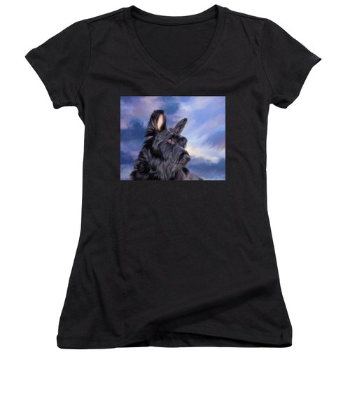 Expression Is Everything Scottish Terrier Dog Women's V-Neck