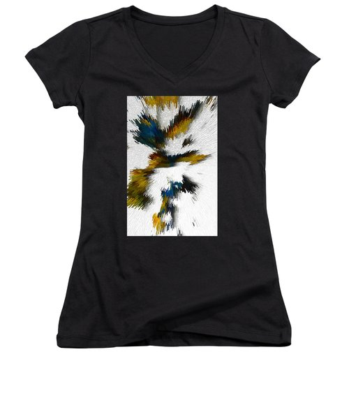 Women's V-Neck T-Shirt featuring the digital art Sculptural Series Digital Painting 612.102310extrusion by Kris Haas