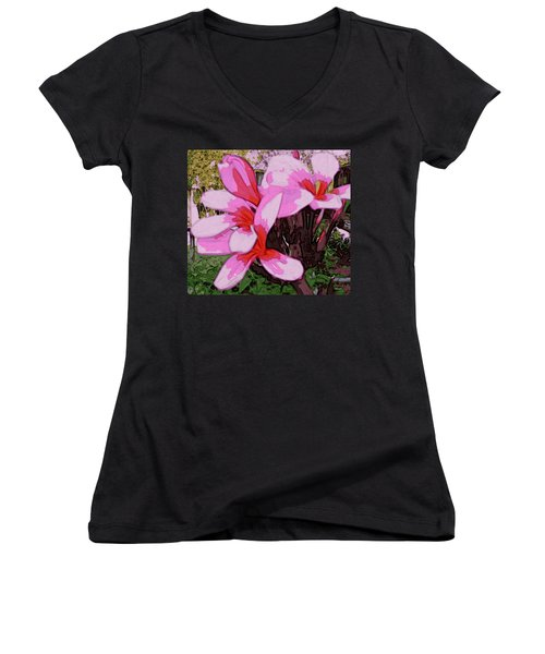 Women's V-Neck T-Shirt featuring the digital art Exuberance by Winsome Gunning
