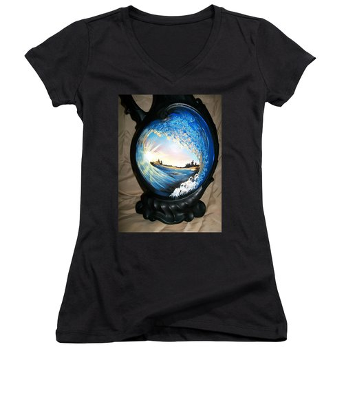 Eye Of The Wave 1 Women's V-Neck T-Shirt (Junior Cut) by Sharon Duguay