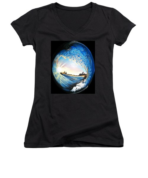 Eye Of The Wave Women's V-Neck T-Shirt (Junior Cut) by Sharon Duguay