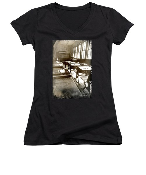 Eyes Front Women's V-Neck T-Shirt (Junior Cut) by Randall Cogle
