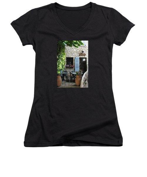 Eze Cobblestone Patio Women's V-Neck T-Shirt (Junior Cut) by Carla Parris