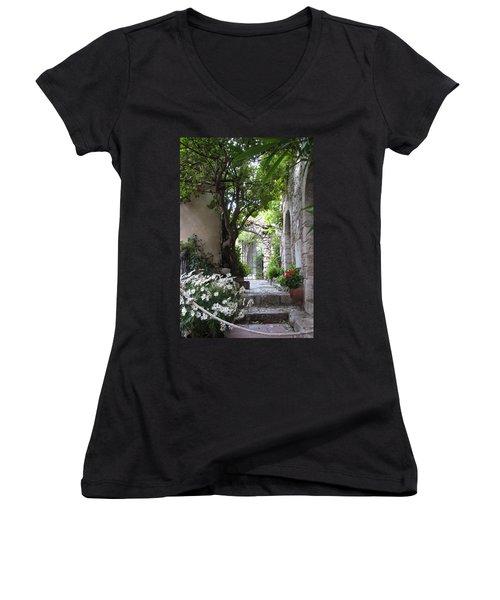 Women's V-Neck T-Shirt (Junior Cut) featuring the photograph Eze Passageway by Carla Parris