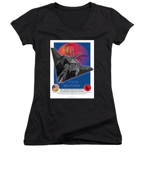 Women's V-Neck T-Shirt (Junior Cut) featuring the drawing F117a Nighthawk by Kenneth De Tore