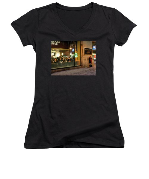 Women's V-Neck T-Shirt (Junior Cut) featuring the digital art Faces At The Coffeehouse by Chris Flees