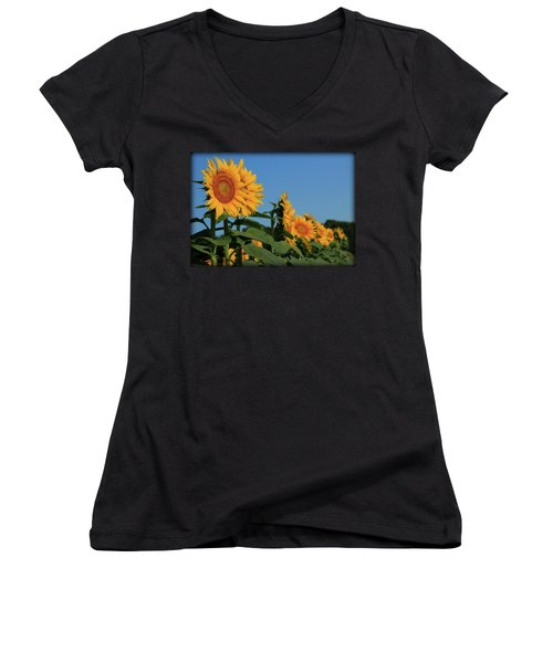 Women's V-Neck T-Shirt (Junior Cut) featuring the photograph Facing East by Chris Berry