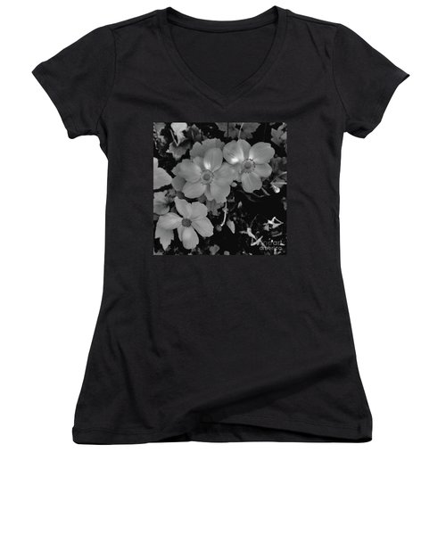 Faded Flowers Women's V-Neck (Athletic Fit)