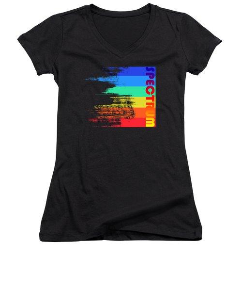 Faded Retro Pop Spectrum Colors Women's V-Neck T-Shirt