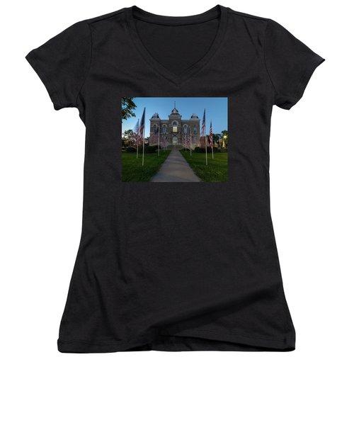 Fairbury Nebraska Avenue Of Flags - September 11 2016 Women's V-Neck T-Shirt (Junior Cut) by Art Whitton