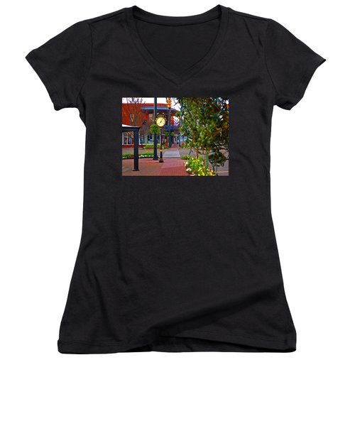 Fairhope Ave With Clock Down Section Street Women's V-Neck T-Shirt (Junior Cut)