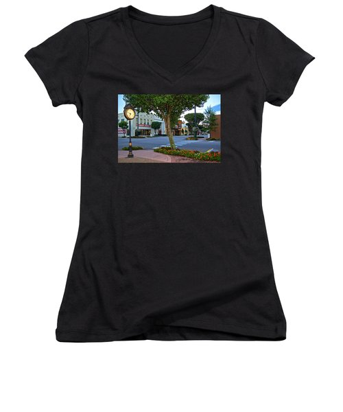 Fairhope Ave With Clock Women's V-Neck