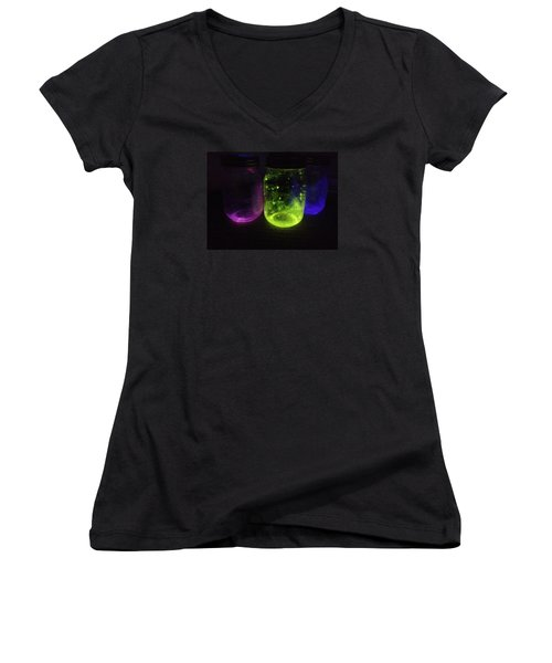 Fairy Jars Women's V-Neck T-Shirt (Junior Cut) by Shelby Burhans