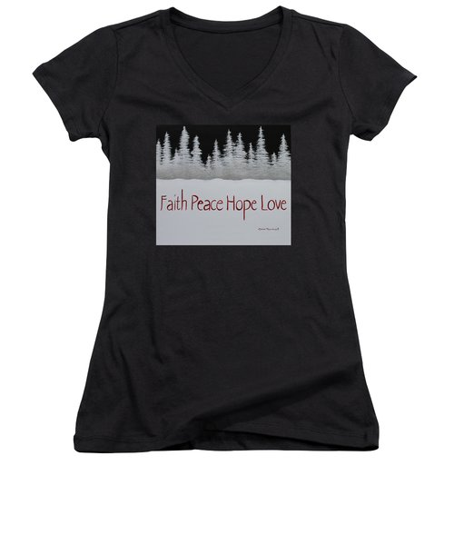 Faith, Peace, Hope, Love Women's V-Neck