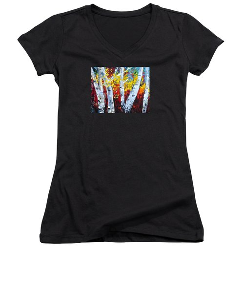 Fall Birch Trees Women's V-Neck (Athletic Fit)