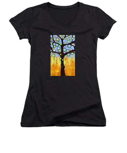Fall Circles Women's V-Neck T-Shirt (Junior Cut) by Patricia Arroyo