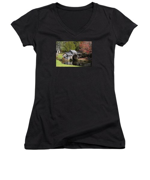 Fall Colors At Mabry Mill Blue Ridge Parkway Women's V-Neck T-Shirt (Junior Cut) by Nature Scapes Fine Art