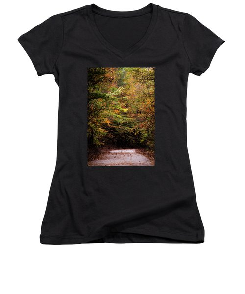 Women's V-Neck T-Shirt (Junior Cut) featuring the photograph Fall Colors On The Trail by Shelby Young