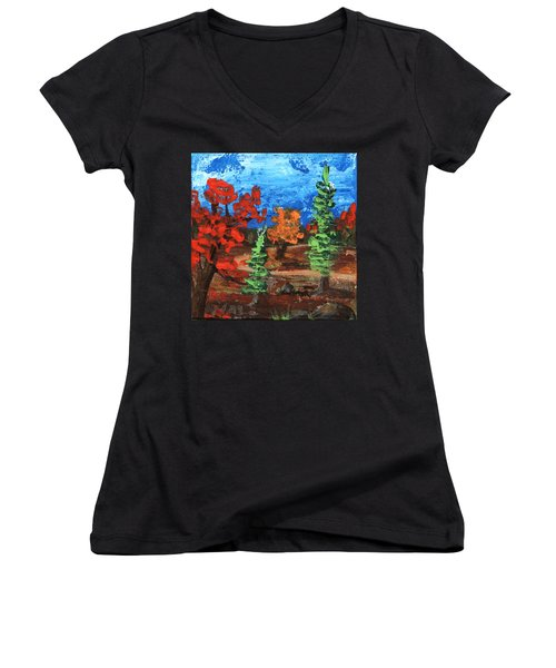 Women's V-Neck featuring the painting Fall Colours #1 by Anastasiya Malakhova