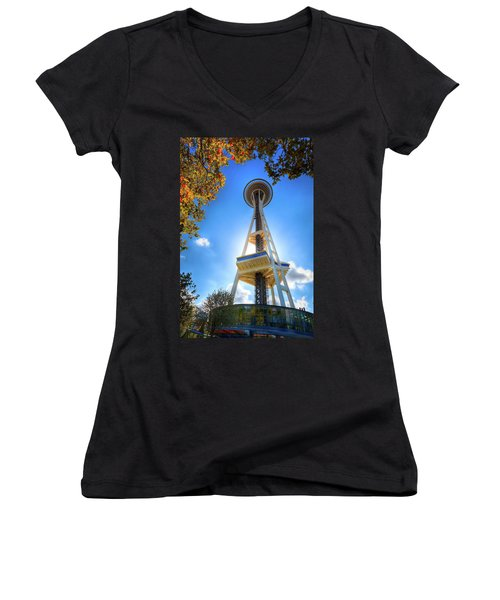 Fall Day At The Space Needle Women's V-Neck T-Shirt (Junior Cut) by David Patterson