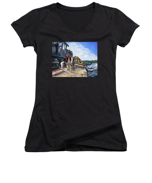 Fall Lake Train Women's V-Neck T-Shirt