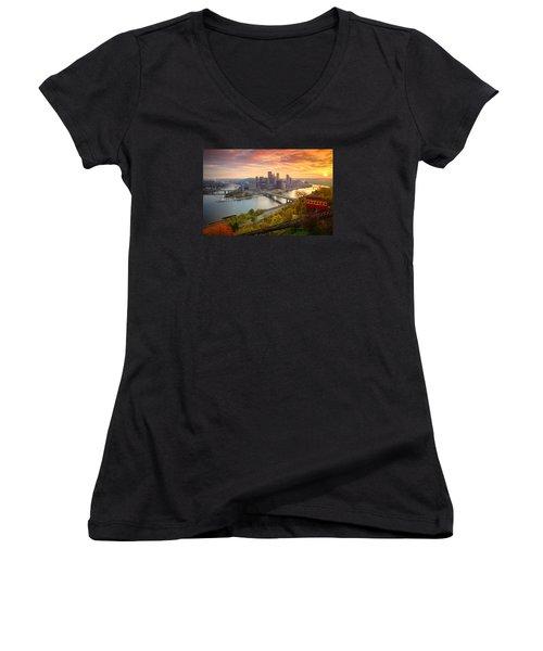 Fall Pittsburgh Skyline  Women's V-Neck T-Shirt (Junior Cut) by Emmanuel Panagiotakis