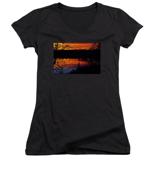 Fall Sunset Women's V-Neck (Athletic Fit)