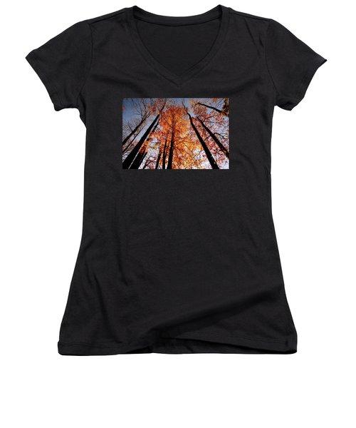 Women's V-Neck T-Shirt (Junior Cut) featuring the photograph Fall Trees Sky by Meta Gatschenberger