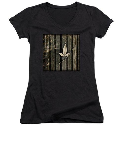 Fallen Leaf Women's V-Neck T-Shirt (Junior Cut) by John Edwards
