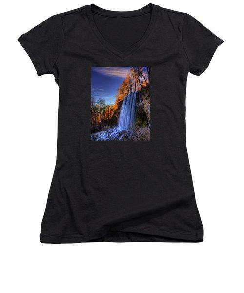 Falling Spring Falls Women's V-Neck T-Shirt (Junior Cut) by Steve Hurt