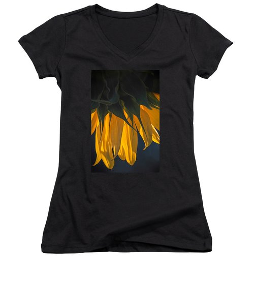 Falling Yellow  Women's V-Neck (Athletic Fit)