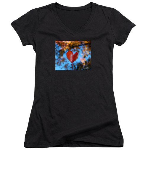 Women's V-Neck T-Shirt (Junior Cut) featuring the photograph Fall's Heart by Debra Thompson