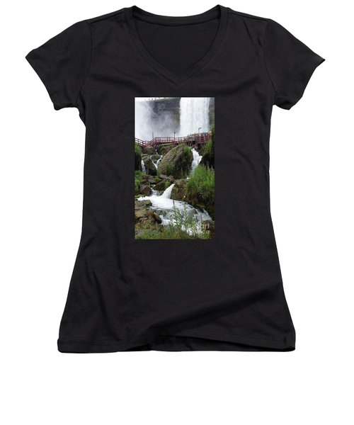 Falls Women's V-Neck T-Shirt (Junior Cut) by Raymond Earley