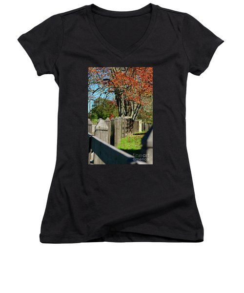 Familiar Fall Women's V-Neck T-Shirt (Junior Cut) by Lori Mellen-Pagliaro
