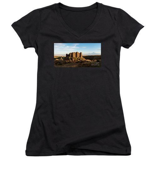 Famous Amberd Fortress With Mount Ararat At Back, Armenia Women's V-Neck T-Shirt
