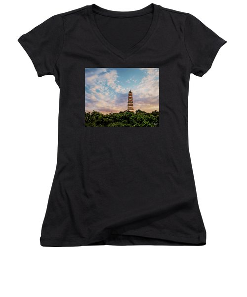 Far Distant Pagoda Women's V-Neck