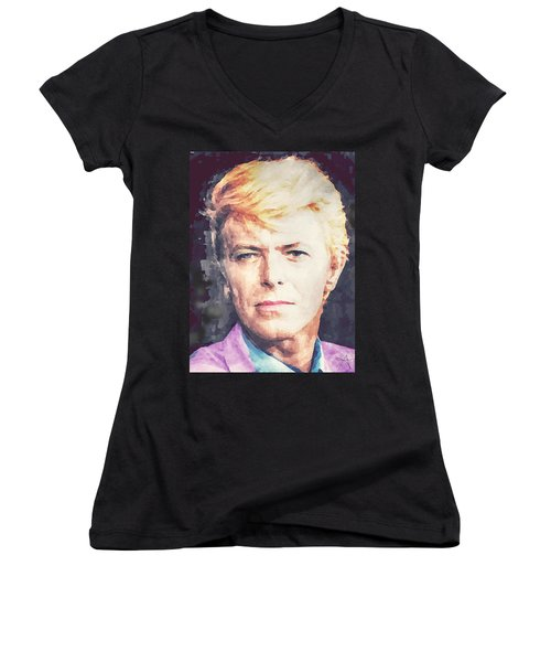 Farewell David Bowie Women's V-Neck T-Shirt (Junior Cut) by Ana Tirolese