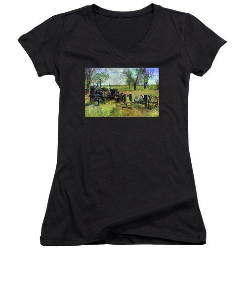 Farm Equipment Women's V-Neck T-Shirt (Junior Cut) by Deborah Nakano