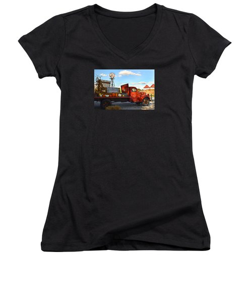 Farm With Red Truck In Fall  Women's V-Neck (Athletic Fit)