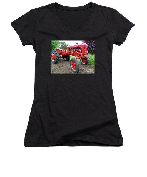 Farmall Women's V-Neck T-Shirt (Junior Cut) by Susan Lafleur