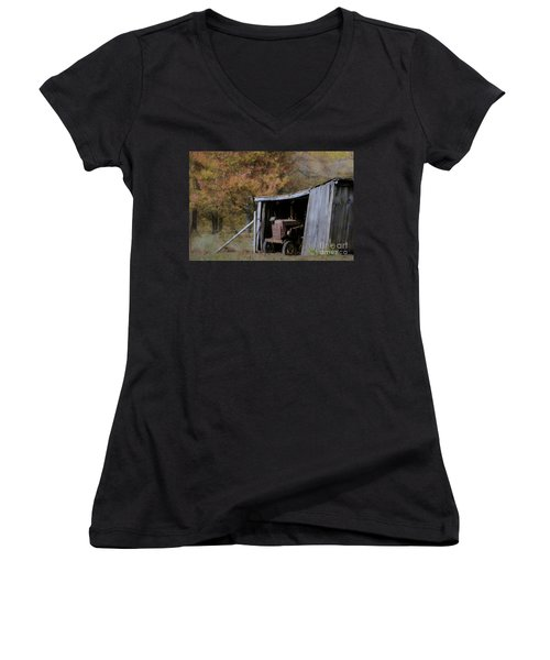 Women's V-Neck T-Shirt (Junior Cut) featuring the photograph Farmall Tucked Away by Benanne Stiens