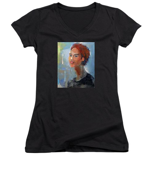 Women's V-Neck T-Shirt (Junior Cut) featuring the painting Fascination by Becky Kim