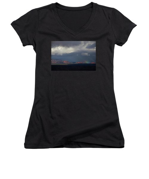 Women's V-Neck T-Shirt (Junior Cut) featuring the photograph Fat Ground Rainbow, Red Rocks Sedona by Ron Chilston